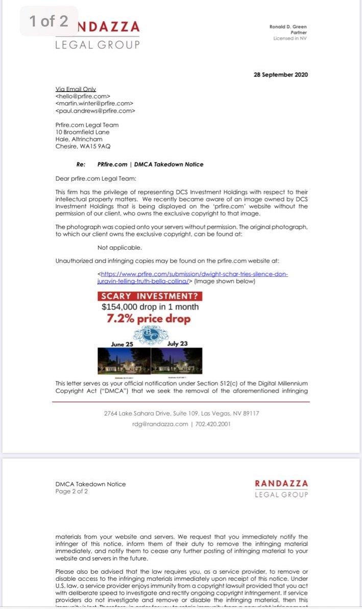 Marc Randazza fraudgulent DMCA letter - attorney Ronald Green