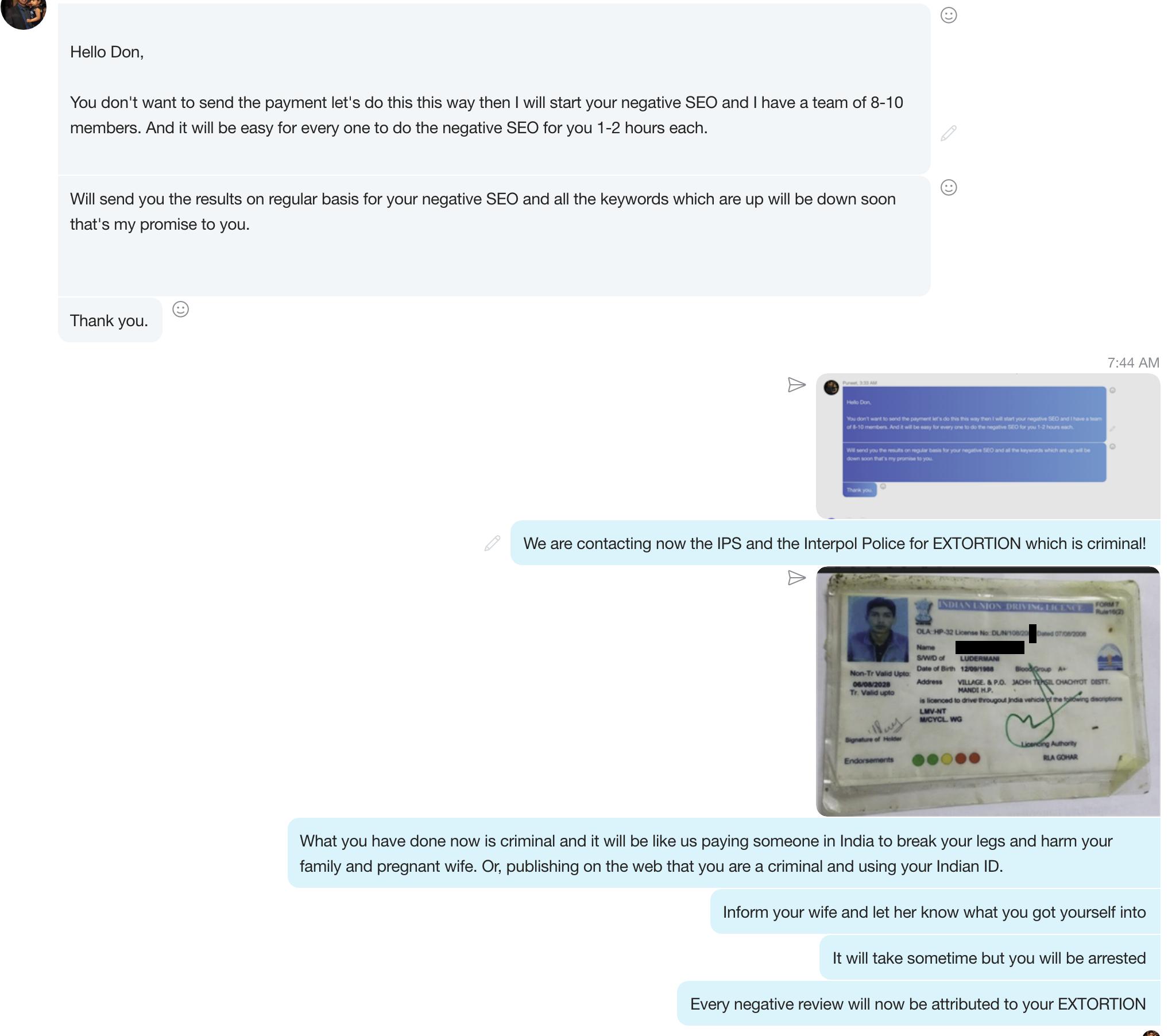 Randall Greene and Paul Simonson Web Extorsion