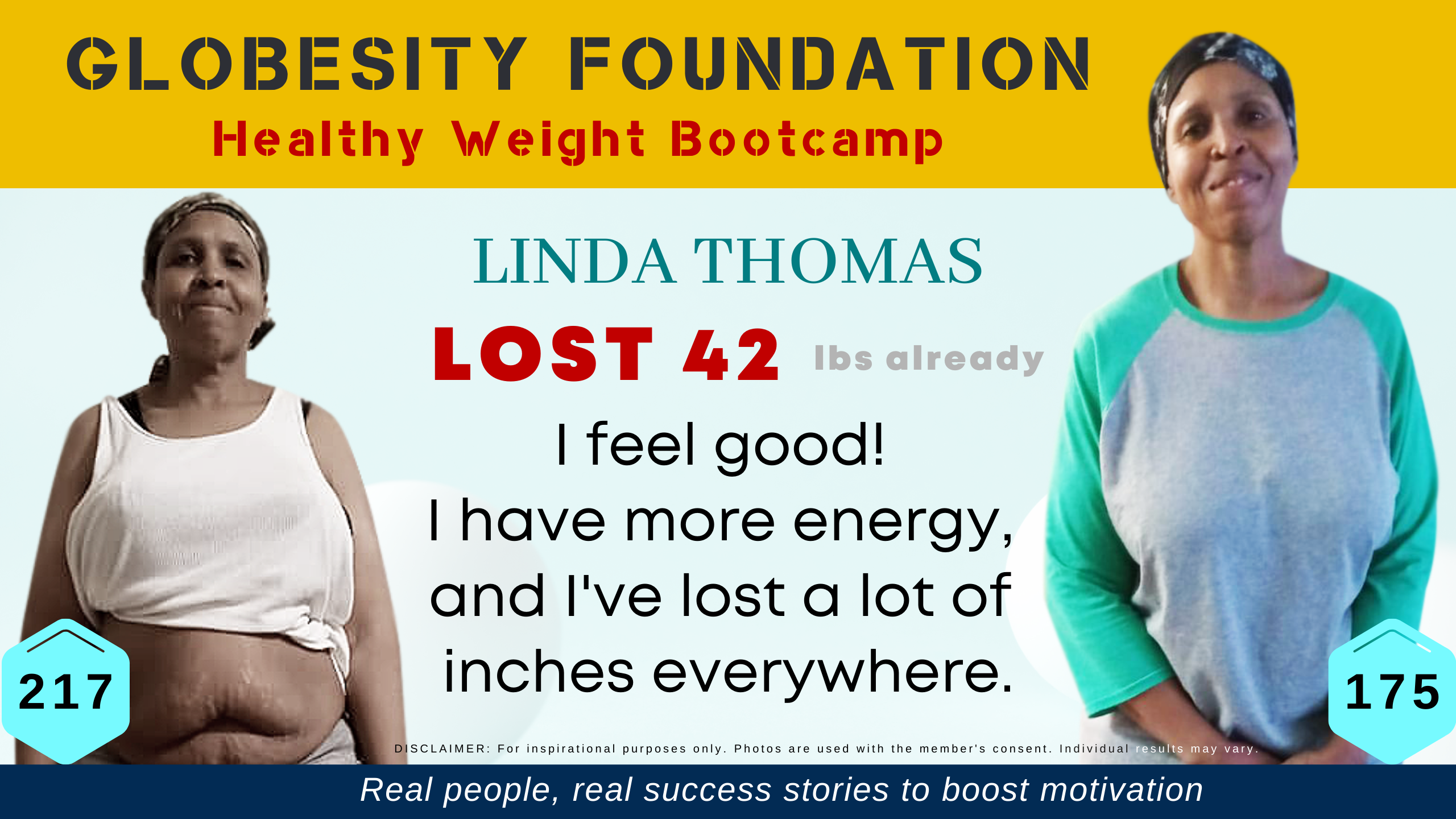 AFTER 25 YEARS, LINDA THOMAS HAS WEIGHED UNDER 200 LBS; SHE'S GRATEFUL TO GLOBESITY FOUNDATION